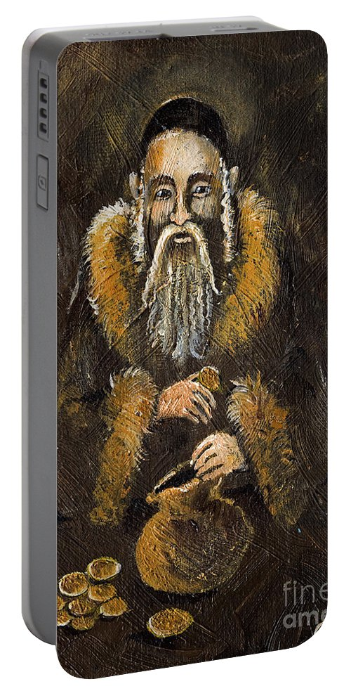 Portable Battery Charger featuring the painting Counting The Gold Coins by Angel Ciesniarska