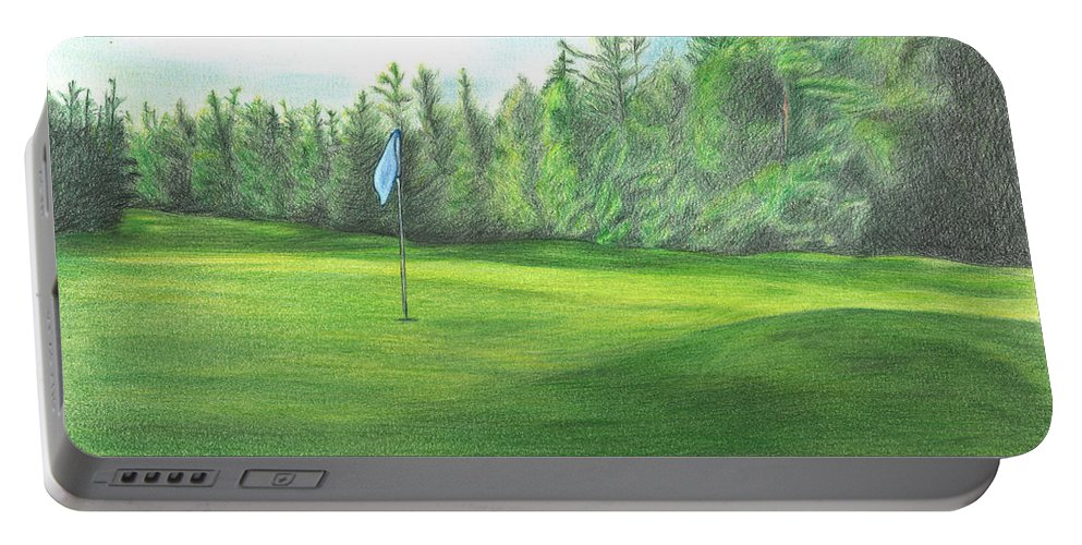 Golfing Portable Battery Charger featuring the drawing Country Club by Troy Levesque