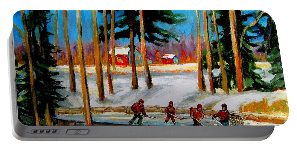 Country Hockey Rink Portable Battery Charger featuring the painting Country Hockey Rink by Carole Spandau