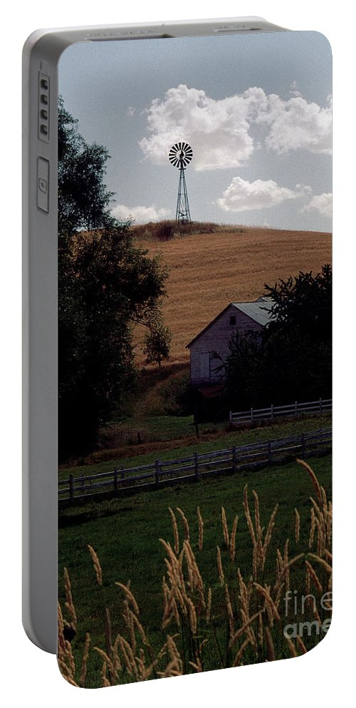 Windmill Portable Battery Charger featuring the photograph Country Peace by Sharon Elliott