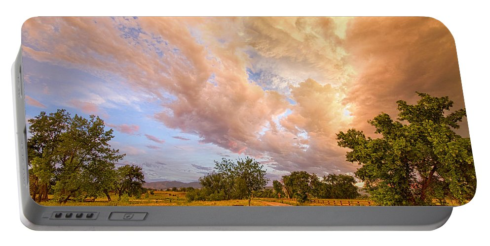 Road Portable Battery Charger featuring the photograph Country Road Into The Storm Front by James BO Insogna