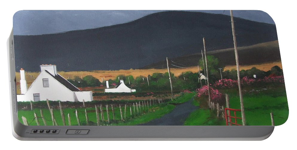 Irish Portable Battery Charger featuring the painting Country Road by Tony Gunning