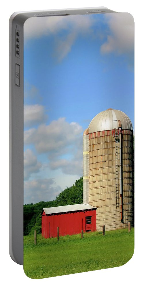 Farm Portable Battery Charger featuring the photograph Country Silo by Karol Livote