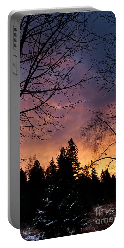 Rustic Scenes Portable Battery Charger featuring the photograph Country Sunrise by Cheryl Baxter