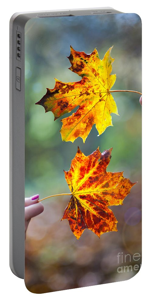 Autumn Portable Battery Charger featuring the photograph Couple Holding Autumn Leaves by Lee Avison