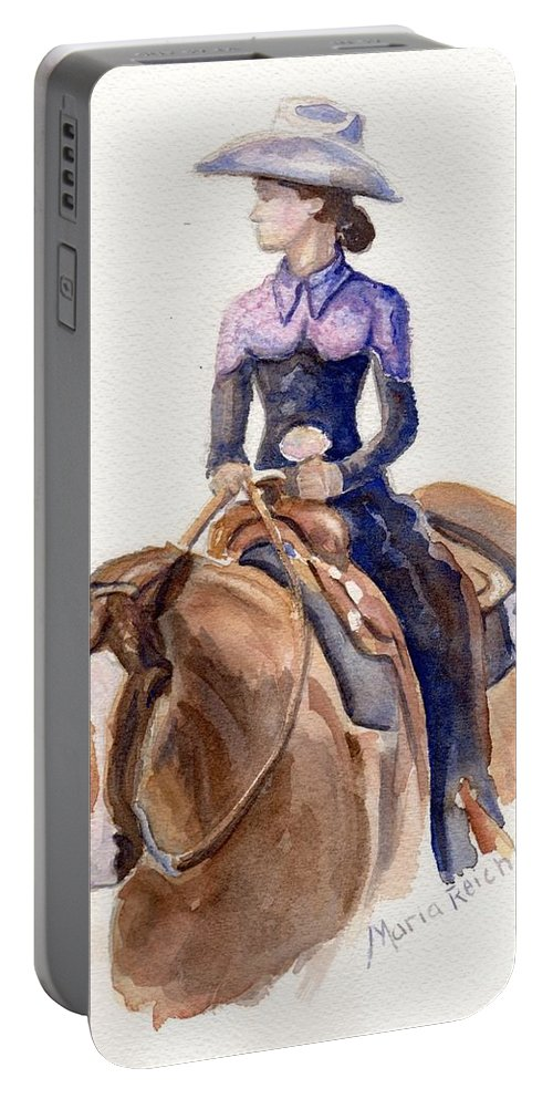 Horse Art Portable Battery Charger featuring the painting Horse Painting Cowgirl Courage by Maria's Watercolor