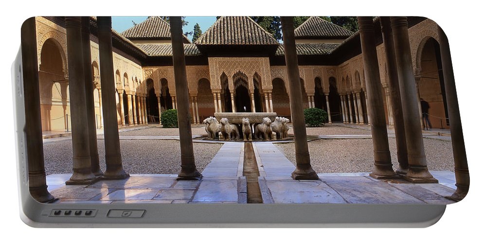 The Alhambra Portable Battery Charger featuring the photograph Court Of The Lions by Guido Montanes Castillo