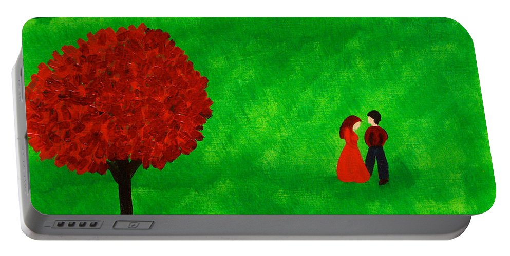 Red Portable Battery Charger featuring the painting Courting Couple by Anita Lewis
