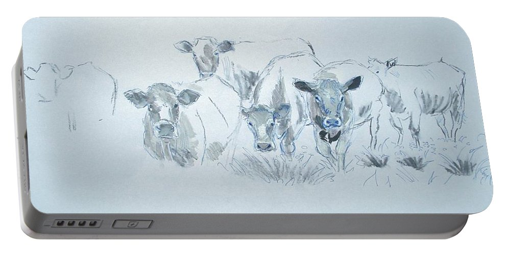 Mike Jory Cows Bulls Cattle Sheep Goats Horses Fields Countryside Farm Agriculture Rural Wildlife Nature Animal Herd Hills Hedges British Gloucestershire Animals Portable Battery Charger featuring the painting Cow Drawing by Mike Jory