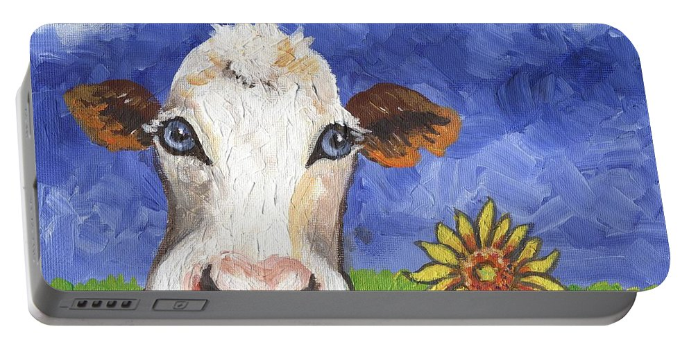 Cow Portable Battery Charger featuring the painting Cow Fantasy One by Linda Mears