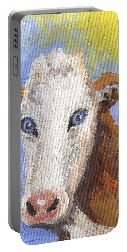 Cow Portable Battery Charger featuring the painting Cow Fantasy Three by Linda Mears