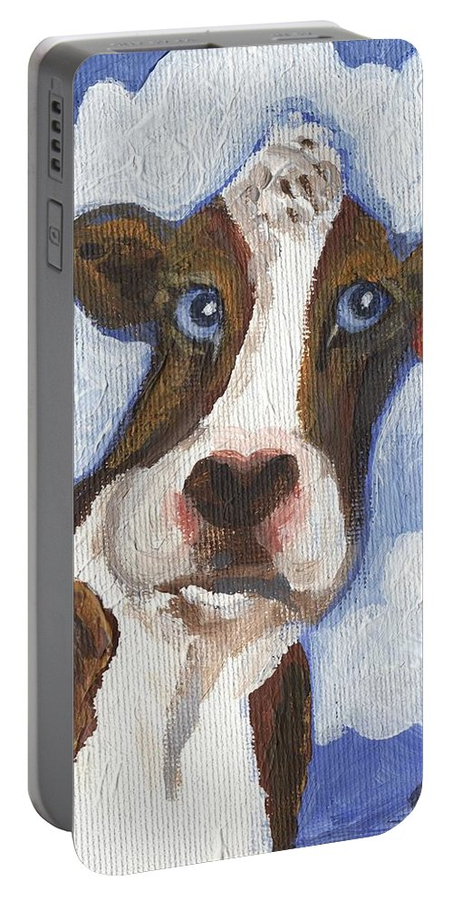 Cow Portable Battery Charger featuring the painting Cow Fantasy Two by Linda Mears