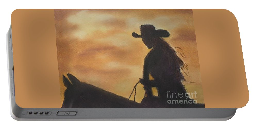 Cowgirl Portable Battery Charger featuring the pastel Cow Girl At Sunset by Julie Brugh Riffey