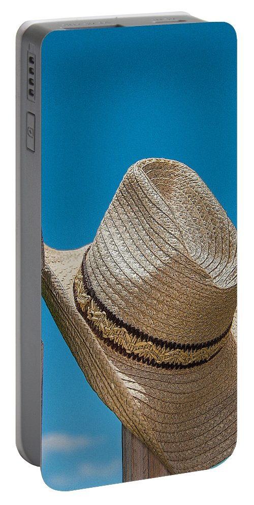 Hat Portable Battery Charger featuring the photograph Cowboy Days by Charles Beeler