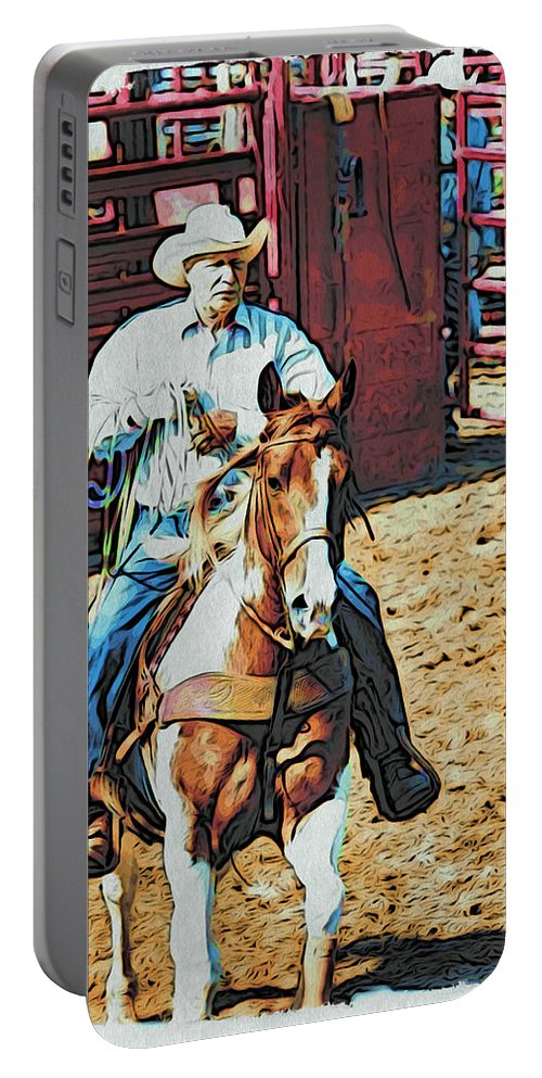 Horse Portable Battery Charger featuring the photograph Cowboy On Paint by Alice Gipson