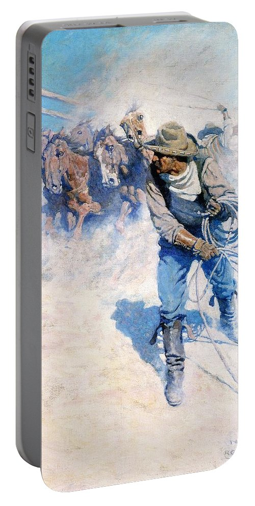 Cowboy Roping Wild Horses Portable Battery Charger featuring the digital art Cowboy Roping Wild Horses by N C Wyeth