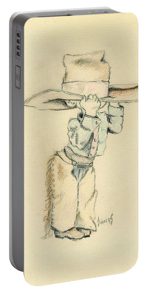 Cowboy Portable Battery Charger featuring the drawing Cowboy by Sam Sidders