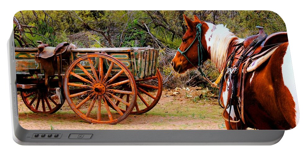Western Destinations Portable Battery Charger featuring the photograph Cowboy Up by Tap On Photo