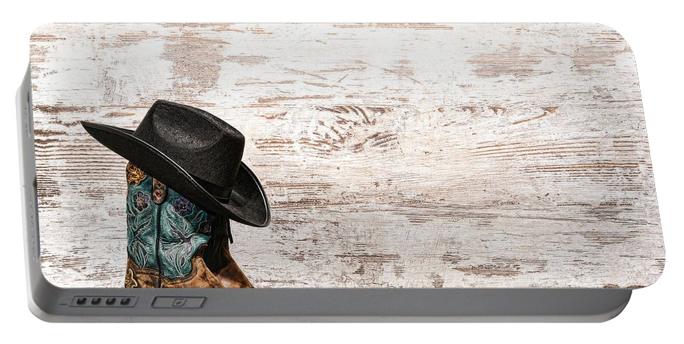 Cowgirl Portable Battery Charger featuring the photograph Cowgirl Boots by Olivier Le Queinec