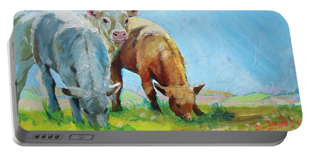 Cow Portable Battery Charger featuring the painting Cows Landscape by Mike Jory