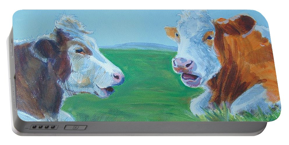 Mike Jory Cow Painting Portable Battery Charger featuring the painting Cows Lying Down Chatting by Mike Jory