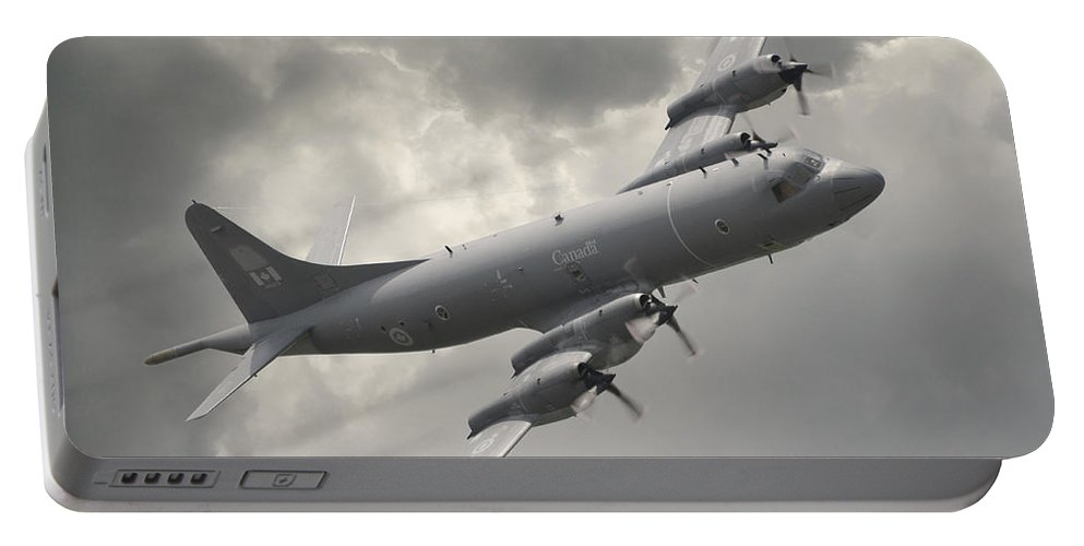 Coastal Maritime Patrol Modern Aviation Military Aircraft Submarine Hunter Turbo Prop Flight Flying Canada Grey Gray Storm Portable Battery Charger featuring the photograph Cp-140 Aurora by Jeff Stephenson