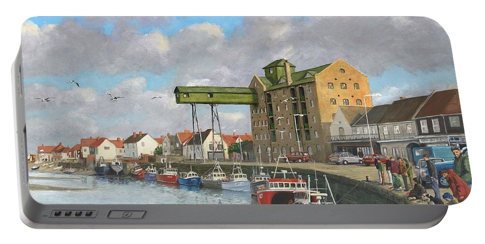 Landscape Portable Battery Charger featuring the painting Crabbing - Wells-next-the-sea Norfolk by Richard Harpum