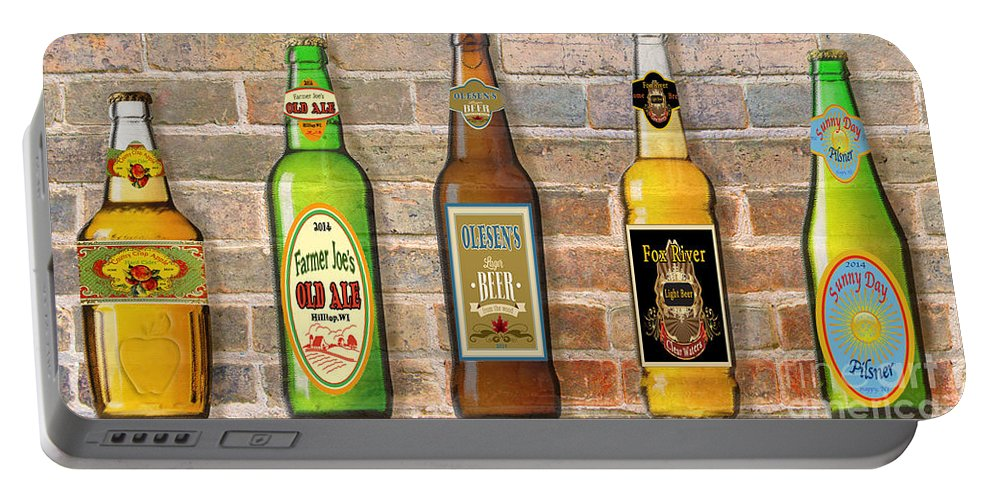 Digital Art Portable Battery Charger featuring the digital art Craft Beer Collection On Brick by Jean Plout