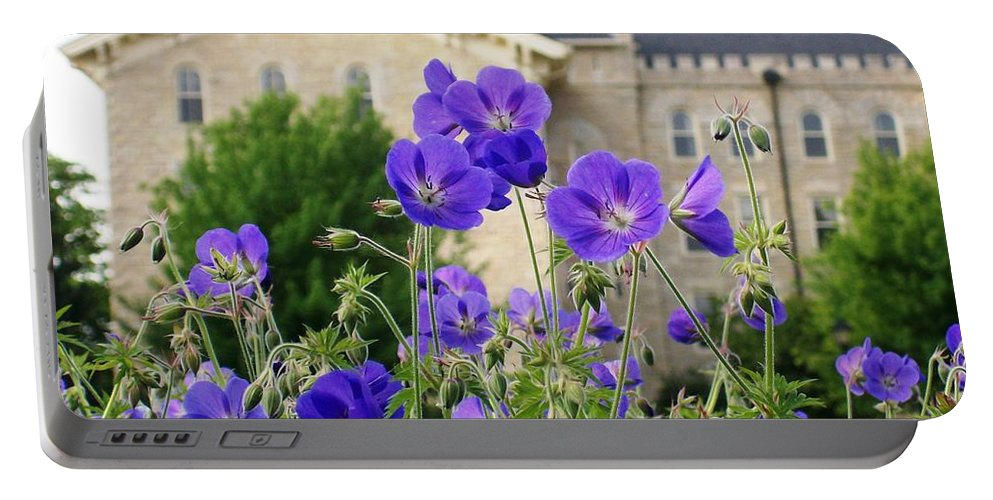 Cranesbill Portable Battery Charger featuring the photograph Cranesbill Blue Geranium by Laurie Eve Loftin