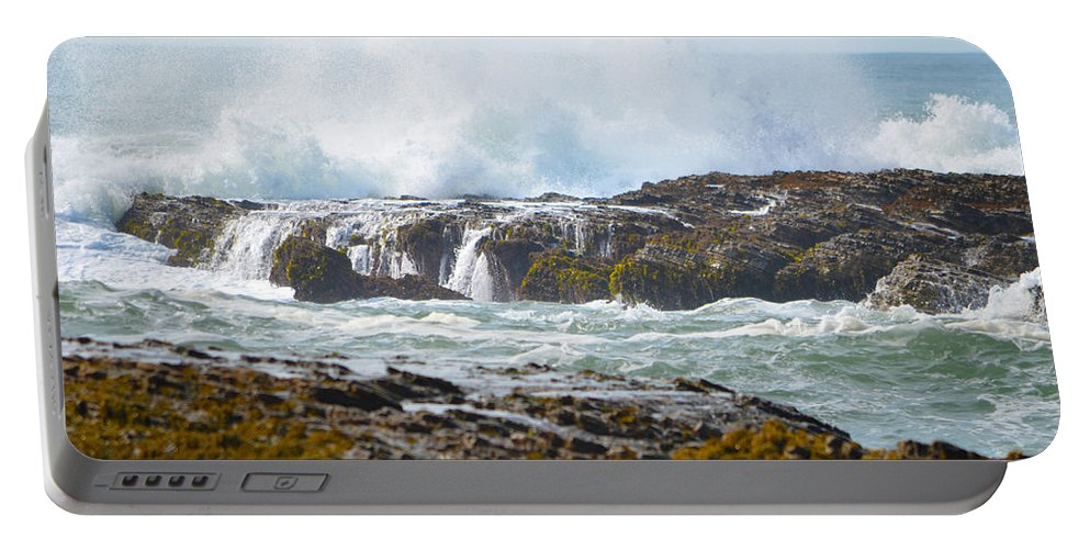 Ocean Portable Battery Charger featuring the photograph Crashing Surf by Deprise Brescia