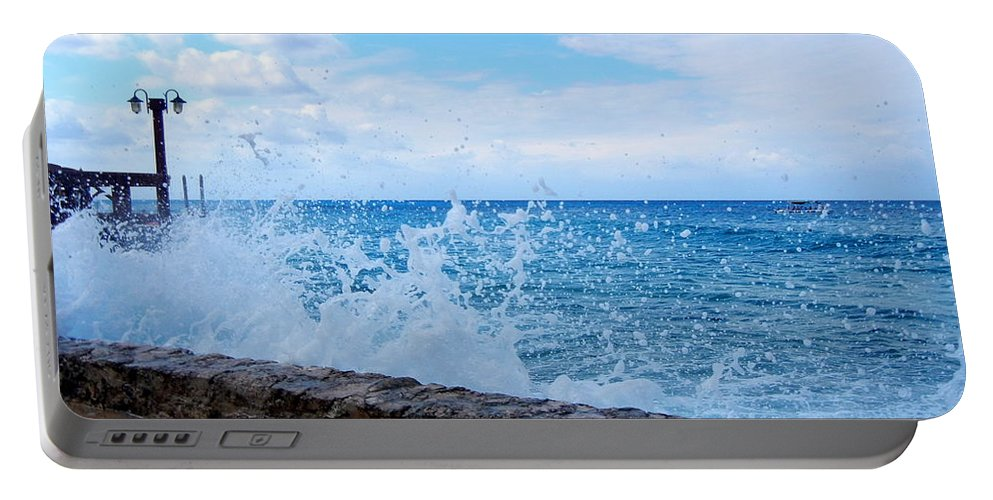 Crashing Waves In Cozumel Portable Battery Charger featuring the photograph Crashing Waves In Cozumel by Debra Martz