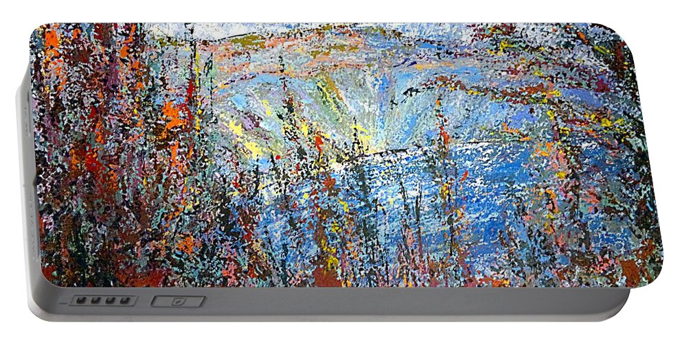 Crater Portable Battery Charger featuring the painting Crater Lake - 1997 by Michael Graham