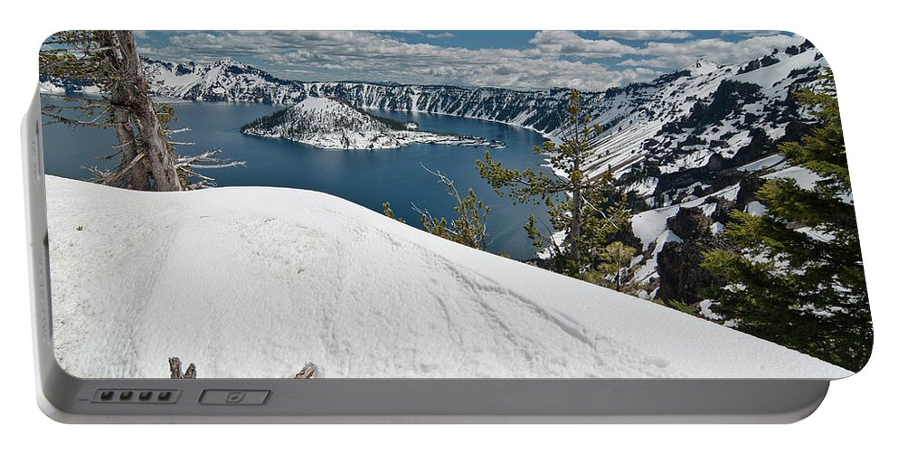 Crater Lake Portable Battery Charger featuring the photograph Crater Lake And Wizard Island In June by Greg Nyquist
