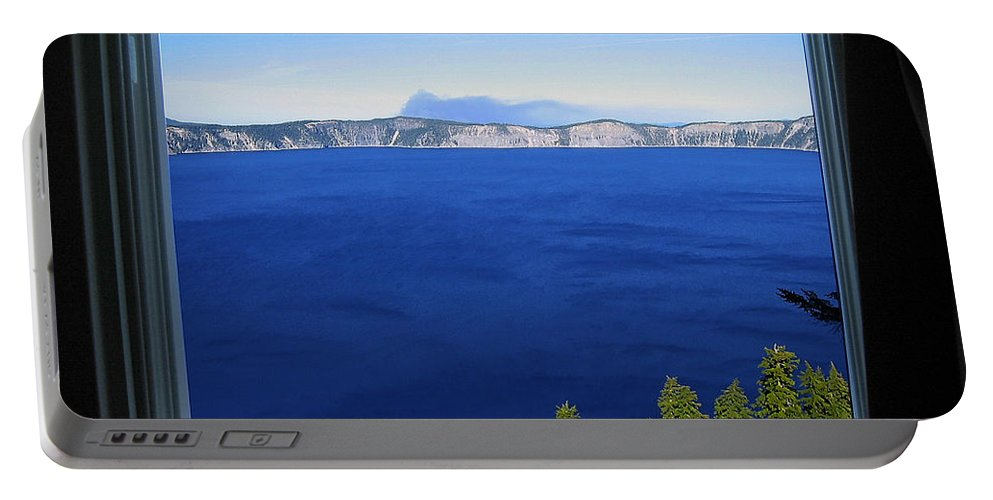 Crater Lake Portable Battery Charger featuring the photograph Crater Lake Through Our Window by Robert Woodward