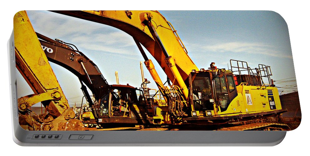 Crawler Excavator Portable Battery Charger featuring the photograph Crawler Excavator - Komatsu - Digger - Machinery by Barbara Griffin