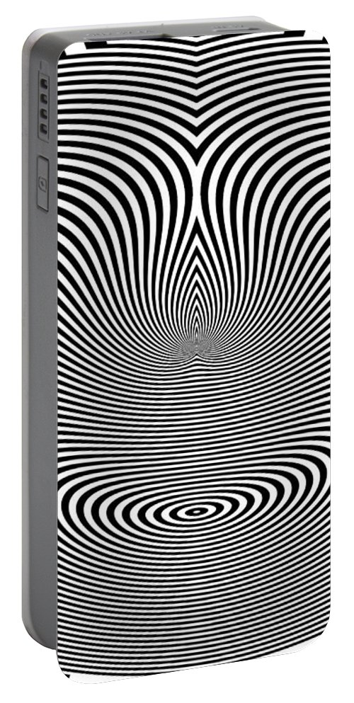Crazy Circles Portable Battery Charger featuring the digital art Crazy Circles by Methune Hively