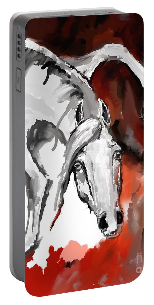 Horse Portable Battery Charger featuring the digital art Crazy Horse 7 by Angel Ciesniarska