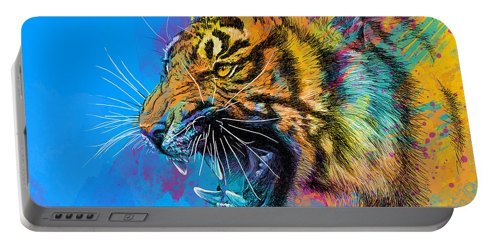 Tiger Portable Battery Charger featuring the digital art Crazy Tiger by Olga Shvartsur