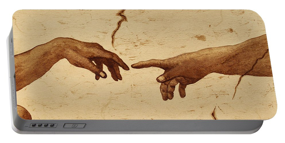 Creation Of Adam Portable Battery Charger featuring the painting Creation Of Adam Hands A Study Coffee Painting by Georgeta Blanaru