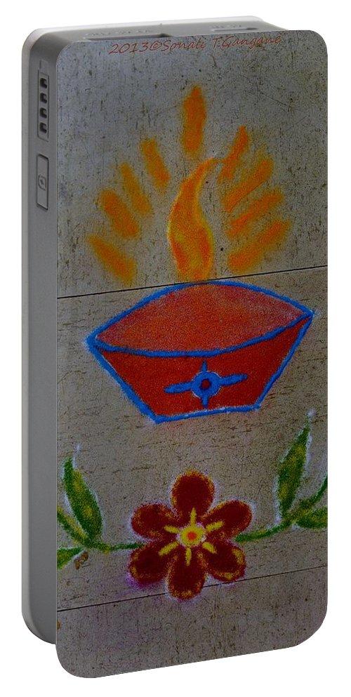 Greetings Portable Battery Charger featuring the photograph Creative Diya Rangoli by Sonali Gangane