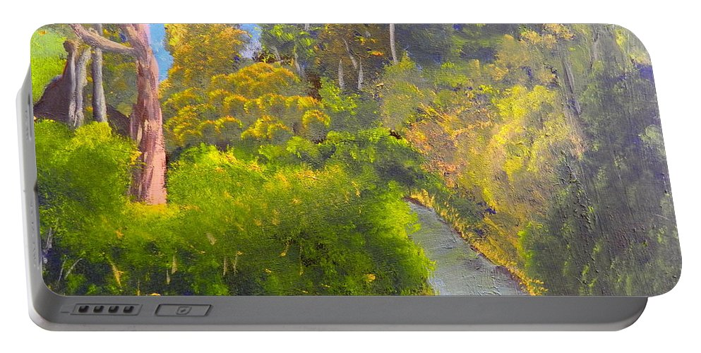 Impressionism Portable Battery Charger featuring the painting Creek In The Bush by Pamela Meredith