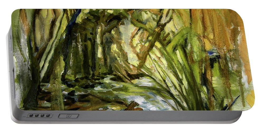 Nature Portable Battery Charger featuring the painting Creek Levels With Overhang by Julianne Felton