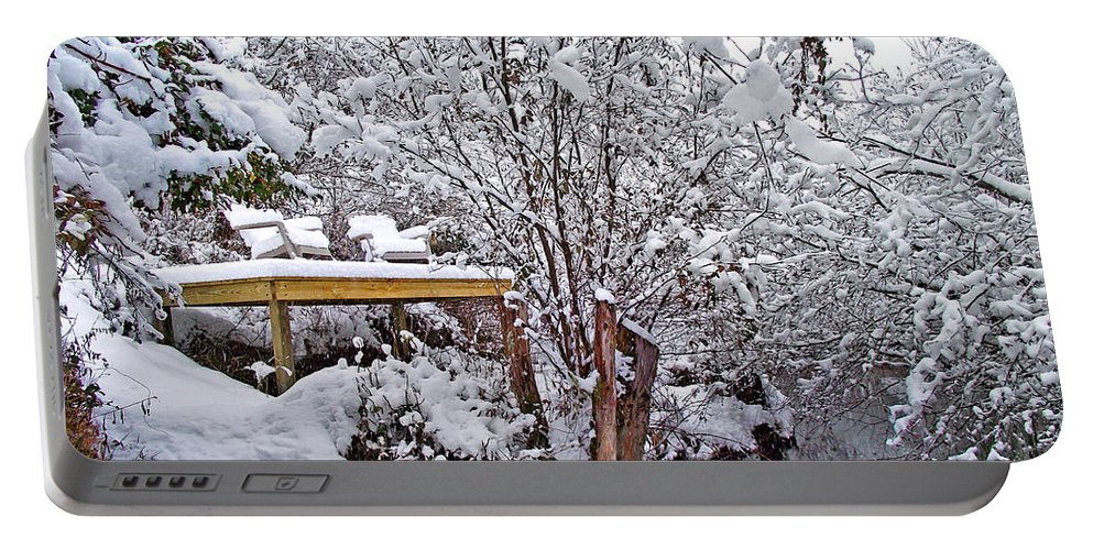 Landscapes Portable Battery Charger featuring the photograph Creekside In The Snow by Duane McCullough