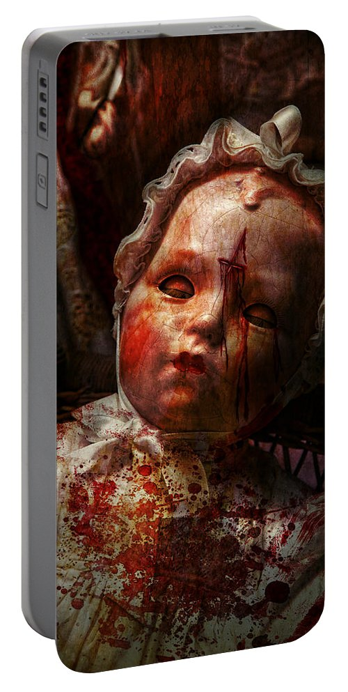 Doll Portable Battery Charger featuring the photograph Creepy - Doll - It's Best To Let Them Sleep by Mike Savad