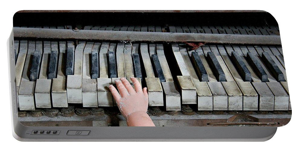 Piano Portable Battery Charger featuring the photograph Creepy Piano Baby by Bethany Helzer