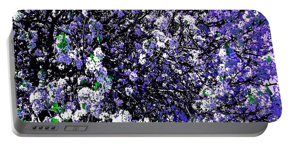 Crepe Myrtle Portable Battery Charger featuring the photograph Crepe Myrtle Tree Purple Lilac Spring by Saundra Myles