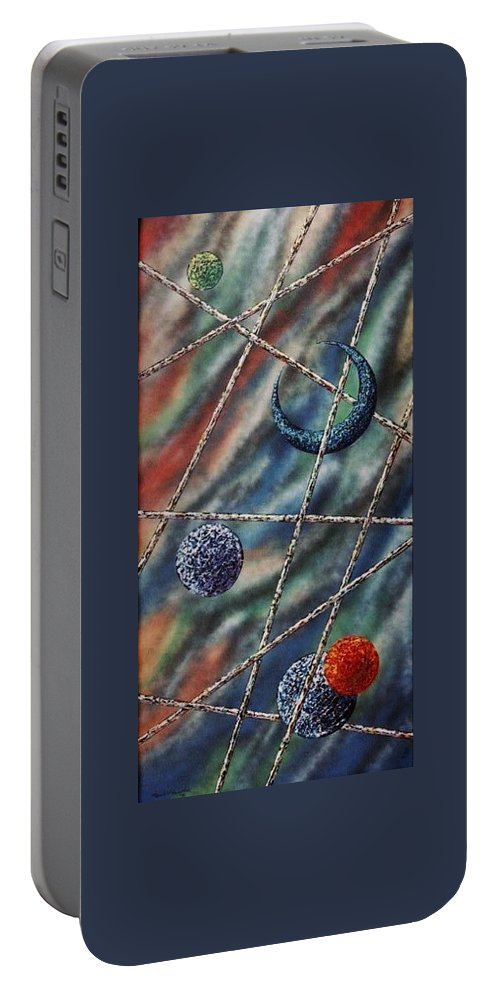 Abstract Portable Battery Charger featuring the painting Crescent by Micah Guenther