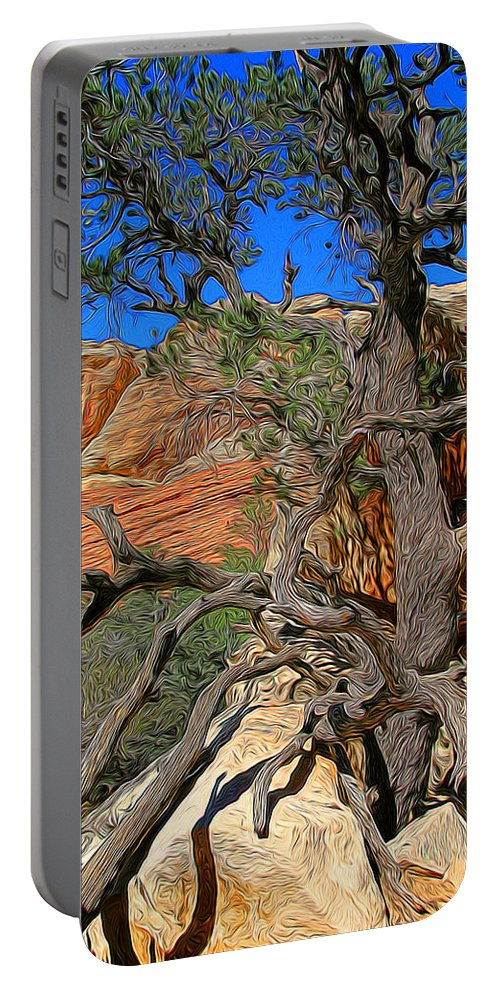 Red Rock Canyon Tree Portable Battery Charger featuring the photograph Cricked Old Fella by Chris Brannen