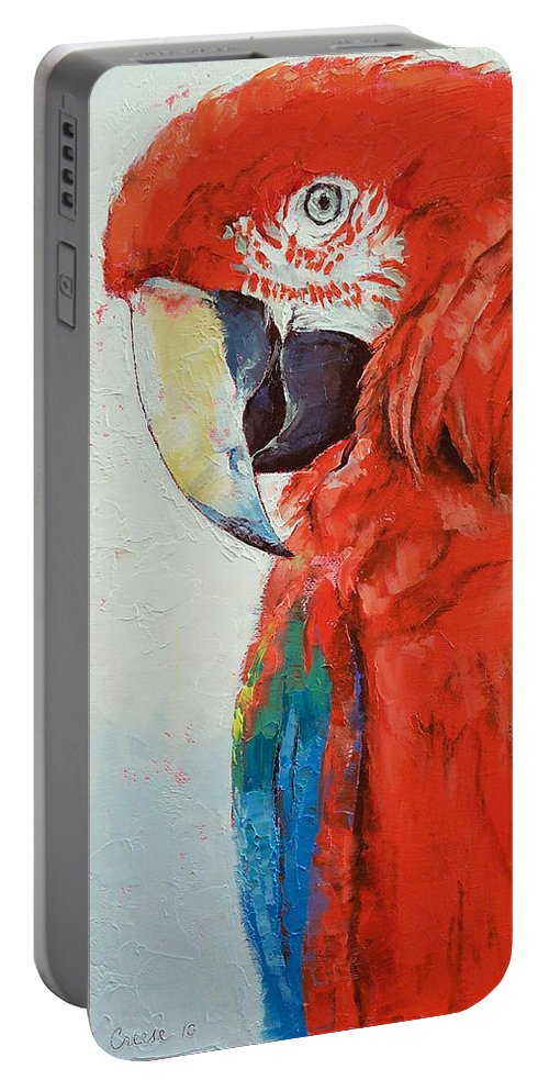 Crimson Portable Battery Charger featuring the painting Crimson Macaw by Michael Creese