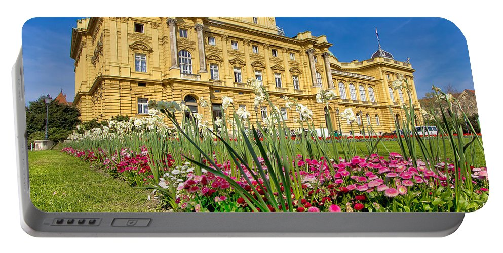 Zagreb Portable Battery Charger featuring the photograph Croatian National Theatre Square In Zagreb by Brch Photography
